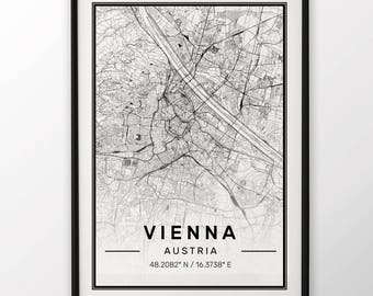 Vienna City Map Print, Modern Contemporary poster in sizes 50x70 fit for Ikea frame 19.5 x 27.5 All city available London, New York Paris