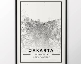 Jakarta City Map Print Modern Contemporary poster in sizes 50x70 fit for Ikea frame 19.5 x 27.5 All city available London New York Paris