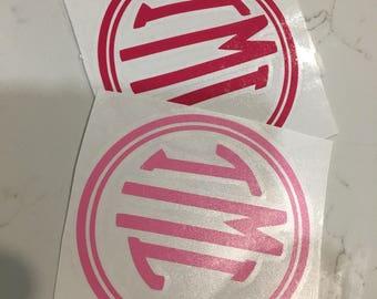 Circle Monogram Vinyl Decal