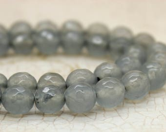 Dye Agate Frosted Gray Transparent Faceted Round Gemstone Beads (8mm)