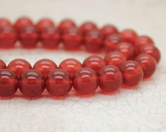 Carnelian Red Smooth Round Gemstone Beads
