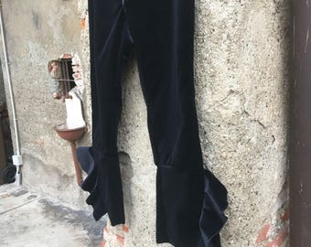 Kick Flaire trousers (trumpet) in black silk velvet and lurex.