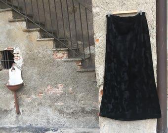 Vintage Velvet print black pony skirt