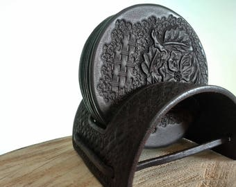 Coaster, leather, handmade and tooled