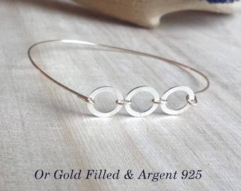 Gold filled 925 Silver Rings 14 K Gold Bangle Bracelet