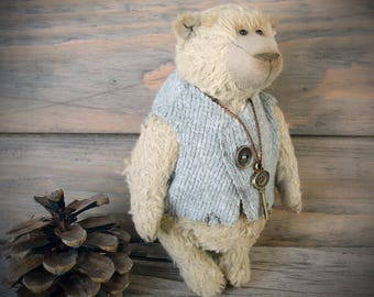 Teddy Bear, OOAK, Collectible Handmade Stuffed Fully Jointed Toy