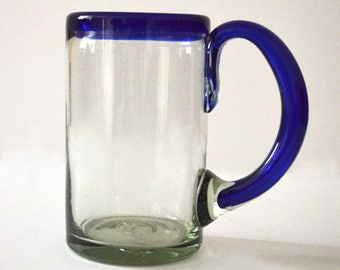 Blue beer glass Rim handblown