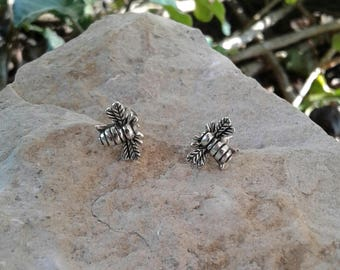 Bumblebee Earrings, Solid Sterling Silver Bee Stud Earrings, Bee Jewelry