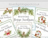 Printable download Christmas tags, digital collage sheet, images paper goods, greetings cards, I love digi, POLISH version
