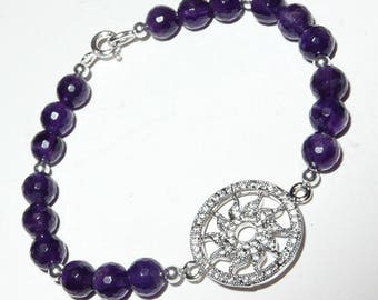 Handmade Amethyst and Sterling Silver Bracelet