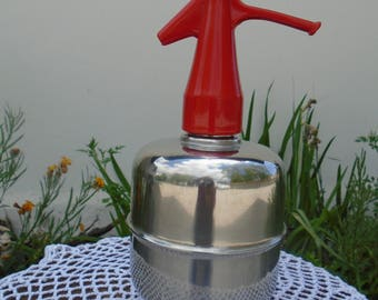 Stainless steel and plastic 70s siphon - water Seltzer soda water, bistro, cafe, restaurant, kitchen