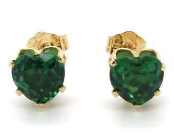 14K Yellow Gold 6x6mm Heart Shaped Synthetic Emerald Stud Earrings
