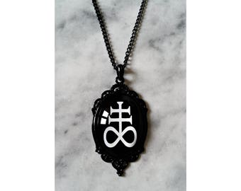 necklace cameo leviathan cross black sulfur alchemy lucifer satan satanic gothic occult esoteric pagan witch witchcraft dark