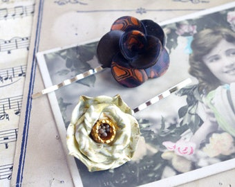 flower hair accessories, rose hair pin, hairpin, clay flowers, autumn wedding
