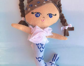 Baby Indigo Mermaid Doll, Handmade felt doll with embroidery details based on pattern from Aimee Rae.  Looking for a loving forever home.