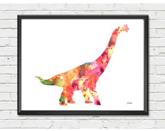 Dinosaur art print, Nursery wall art, kid room decor, Brachiosaurus