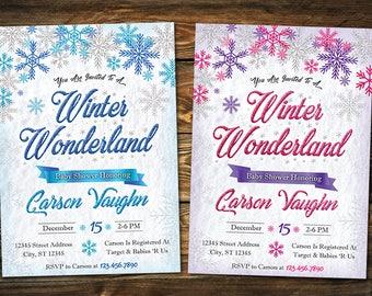 Winter Wonderland Baby Shower Invitation, Winter Wonderland Baby Shower,  Boy Girl Shower Invite,