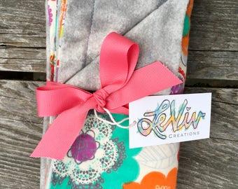 Floral print flannel baby blanket, car seat blanket, soft cuddly baby blanket gift, small blanket, unique nursery decor, baby girl blanket