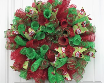 Christmas deco mesh wreath, red and green wreath, Christmas wreath, spiral wreath, plaid deco mesh wreath, holiday wreath, holiday decor