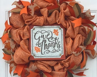 Fall deco mesh wreath, Fall wreath, Thanksgiving decor, Fall decor, Thanksgiving wreath, orange and brown, neutral wreath, rustic wreath