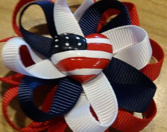 Patriotic Hair Bow, Red, White, Blue, Independence Day Hair Bow Loopy Hair Bow
