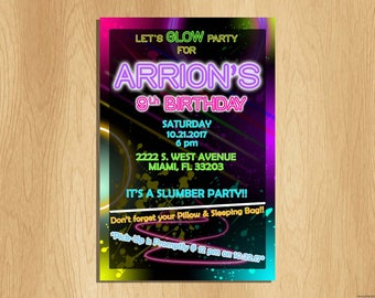 Glow Themed Party Invitation