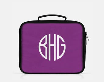 Monogram Lunch Bag, Personalized Lunch Box, Purple Lunch Box, Monogram Lunch Box, Minimalist Lunch Box, Lunch Box for Kids, Reusable Lunch