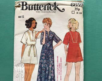 Butterick 6659 Retro Vintage 1970's  Cover-Up, Kimono, Kaftan, Caftan, Dress, Sewing Pattern Size 12 Bust 34 inches