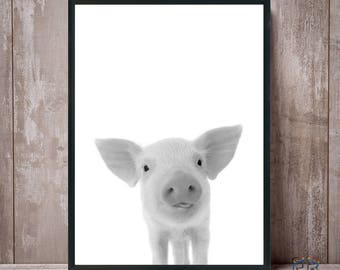 Pig Print, Piggy Print, Farm Animal Print, Pig Black and White, Pig Photo, Nursery Decor, Nursery Wall Art, Modern Farmhouse, Pig Poster