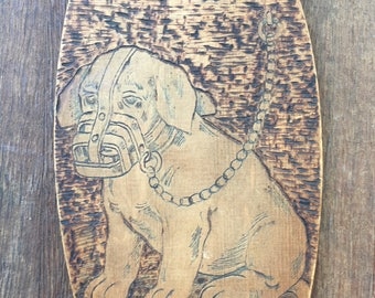 """Wooden Picture with Dog image """"All I Did Was Growl A Little"""""""
