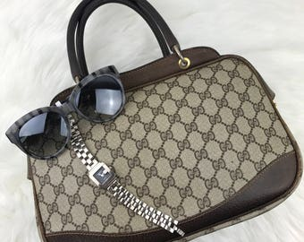 Sale today only- 1960's GUCCI Classic Brown Monogram Canvas Leather Satchel Handbag