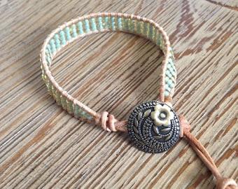 Beaded bracelet, leather bracelet, green bracelet