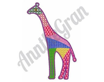 Patchwork Giraffe - Machine Embroidery Design, Giraffe - Machine Embroidery Design