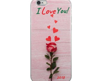 Valentine's Day iPhone Case - I Love You! - Rose Hearts Vday Phone cover Valentine's Day Gift - Custom Phone Case