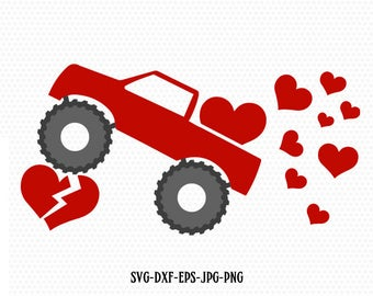 Boy Valentine SVG Valentine Truck Svg Distressed Truck svg Valentine Day svg Valentine Shirts for Boys, CriCut  svg jpg png dxf Silhouette