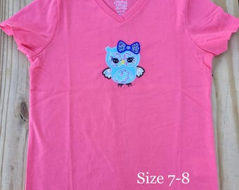 owl appliqué with bow lashes pink aqua