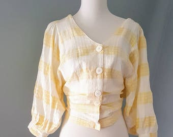 Vintage 80s Victorian inspired blouse. Boxy romantic 80s blouse gingham size 9/Medium