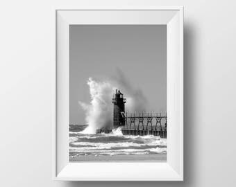 South Haven Lighthouse | Lake Michigan | Pier | Beach | Photo Print