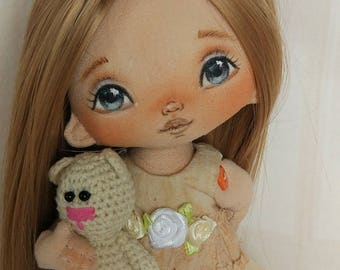 Gift For Girl Rag doll Handmade Textile Cloth Doll Christmas Gift Ideas Christmas Gifts for girl Art dolls Rag dolls Gifts