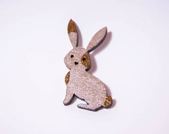 Pearly beige and Brown rabbit brooch