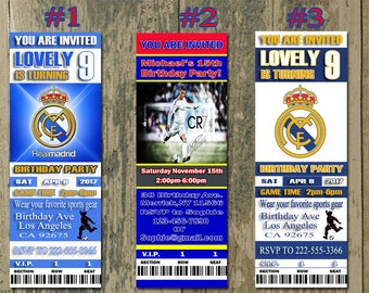 Real Madrid Birthday Invitation, Soccer, Ticket Invitation, Sport,Birthday, Digital, Invite Printable 300 dpi JPG