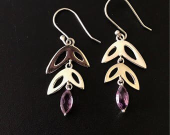 Sterling earrings, sterling gemstone earrings, Amethyst earrings, solid silver earrings, 925 silver, sterling silver jewelery, tribal earrin