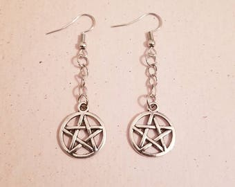 Silver Pentacle Charm Earrings on Fish Hook Hoops - Protection - Wicca - Pagan - Wiccan - Magic - Magick - Made To Order - Ritual