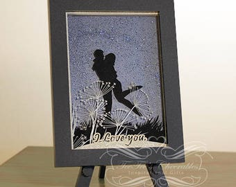 """Romantic Laser Cut Card with """"I Love You"""" saying"""