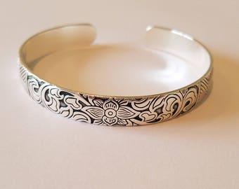 Lotus Flower Stamped Cuff Bracelet