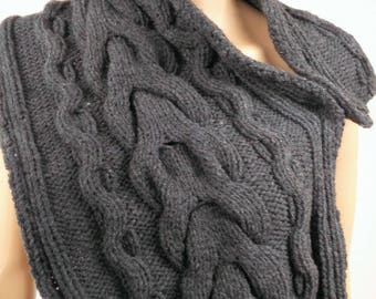 Laine_femme_ ados_ gray scarf - handmade knit. -cable pattern. Acrylic-winter - 0142