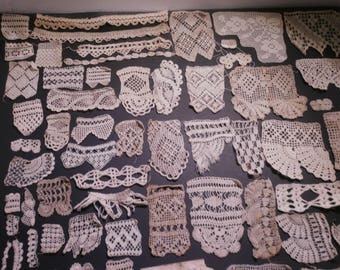 63 Vintage  Hand Made Crochet Pattern Samples -Fine Cotton Thread -All Different Patterns
