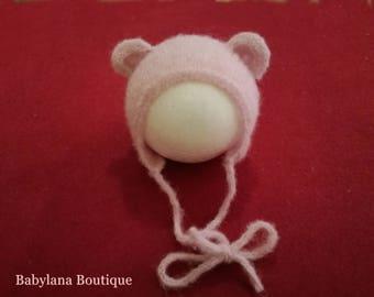 Newborn bear hat, Photography Props. Cuffietta neonato, orso,handmade. Ready to ship