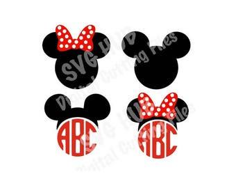 Mickey & Minnie Head Set Cutting Files SVG, Cricut, Silhouette