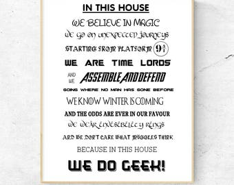 In This House We Do Geek Wall Print, Wall Art, Home Decor, Quote Print, Harry Potter, Avengers, Star Wars, Game Of Thrones, Free UK Shipping